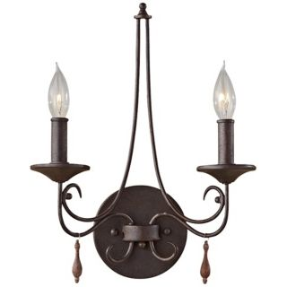 "Feiss Aliya 12"" Wide Rustic Iron Wall Sconce   #Y2008"