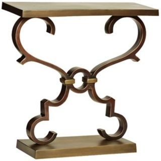 Corinth Scrolling Cast Aluminum Bronze Accent Table   #Y3150