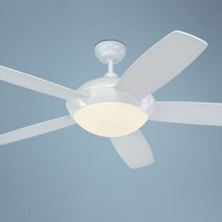 "52"" Monte Carlo Sleek White Ceiling Fan with Light Kit   #R1314"