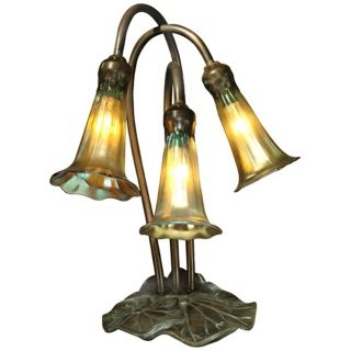 Gold Lily Replica 12 Light Dale Tiffany Table Lamp   #V0096