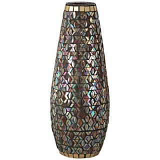 Dale Tiffany Peacock Grande Mosaic Art Glass Vase   #X5045