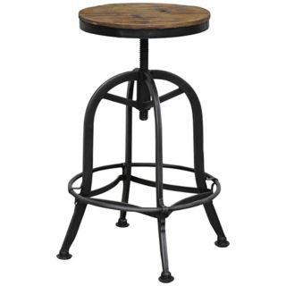Akron Collection Reclaimed Wood Adjustable Bar Stool   #W9556