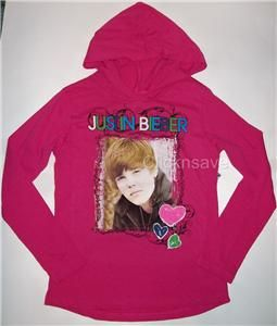 Justin Bieber Girls Hoodie T Shirt Pink Photo New