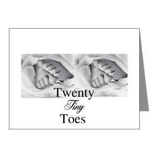 Baby Note Cards  Twenty Tiny Baby Twin Toes Note Cards (Pk of 10