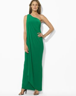 Lauren Ralph Lauren Draped One Shoulder Gown