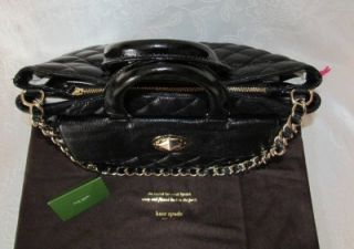 Kate Spade Campbell Gold Coast Black Quilted Leather Satchel Chain Bag