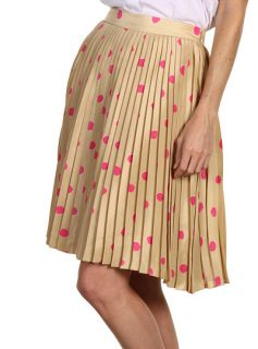 Kate Spade New York Melody Skirt Pleated Polka Dot Silk Beige Pink 10