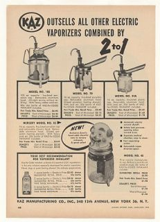 1955 Kaz Vaporizers Clown Head 4 Models Trade Print Ad