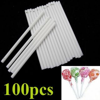100x White Chocolate Cake Pop Candy Cookie Lollipop Lolly Maker Sticks