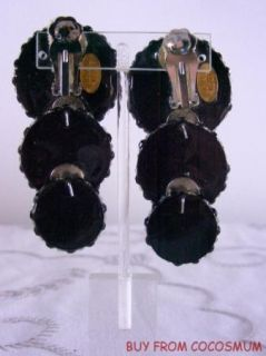 Vtg Fabulous Bold Richard Kerr Signed Black & White Rhinestone Dangle