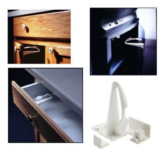 Features of Kidco Adhesive Mount Cabinet and Drawer Lock, 12 ct.