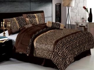 King Size Brown Black Safari Zebra and Giraffe Micro Fur Comforter and