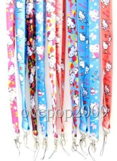 New 100 Pcs Hello Kitty Mobile Phone Card Lanyard Neck Straps Gifts