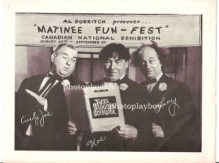Three 3 Stooges Curly Joe Larry Moe Personal Appearance Program CNE