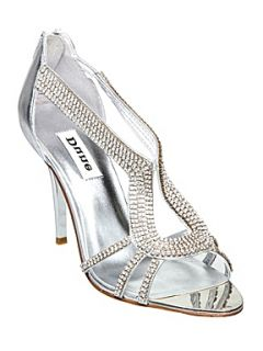 Dune Decadence Horse Shoe Diamante Sandals Silver