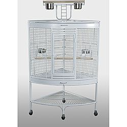 Prevue Pet Products Large Corner Bird Supplies White Large Cage for