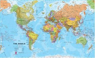 Giant World Megamap Large Wall Map Non Laminated 48x77