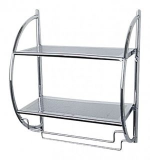 Chrome Wall Mounted Bathroom Shower Towel Shelf Rail Storage Caddy