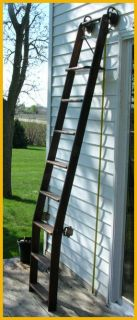 Antique Wood Library Rolling Ladder Cast Wrought Iron Oak