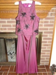 Lillie Rubin Purple Beaded Gown 2 Piece 10 8 Sleeveless