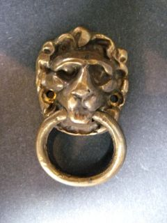Brass Lion Head Cabinet Knob Drawer Pull Set of 6 Size L