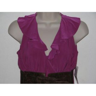 Linda Segal Fuschia Ruffle V Neck Belted Faux Wrap Tunic Tank Top Size