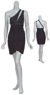 BCBG MAXAZRIA Little Black Ruched Dress Small 4 6 New