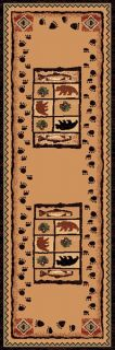 Fish and Paw Prints Western Themed 2x8 Runner Area Rug Carpet