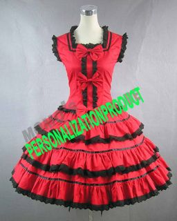 Sweet Lolita Cosplay Knee Length Cute Bows Black Lace Red Ball Gown