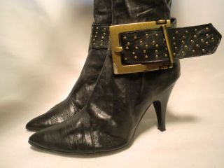 Vtg Rossella Lopes Studded Pinty Tall Knee Black Leather Boots Sz 38 7