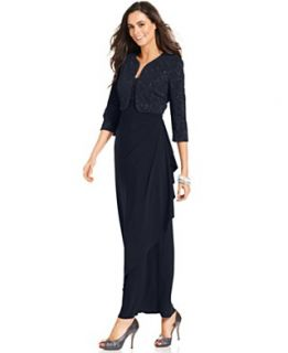 Alex Evenings Petite Dress and Jacket, Sleeveless Glittered Gown