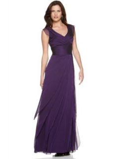 Adrianna Papell New Purple Chiffon Tiered Long Formal Dress 10 BHFO