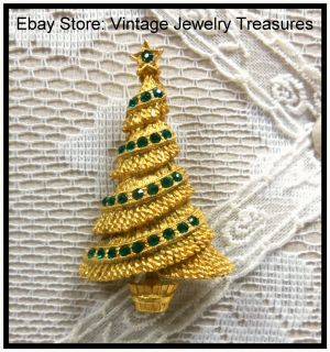Vintage Mamselle Green Rhinestone Gold Christmas Tree Pin