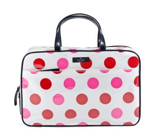 Kate Spade Large Manuela Underglass Cream Pink Red Polka Dot Cosmetic