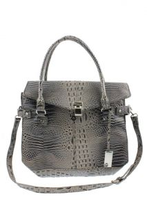 Marc Fisher Gray Embossed Crocodile Print Weekender Tote Handbag Extra