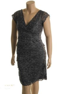 Marina NEW Gray Embellished Lace Empire Waist Cocktail Evening Dress