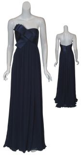 Marchesa Elegant Navy Silk Chiffon Strapless Ribbon Bow Eve Gown Dress