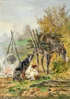 Antique France Calvès Marie Didière Dogs Oil Painting