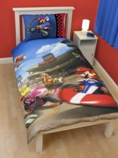 Nintendo Super Mario Kart Race Reversible Panel Single Bed Duvet Quilt