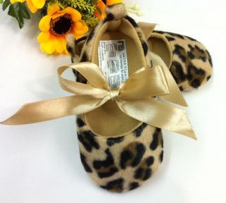 Leopard Mary Jane Infant Soft Sole Kids Toddler Baby Girl Shoes Size 1