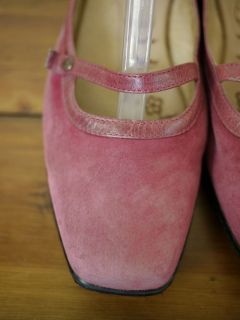 Sofft Pink Suede Leather Mary Jane Comfort Shoes Flats 8 5 w 39