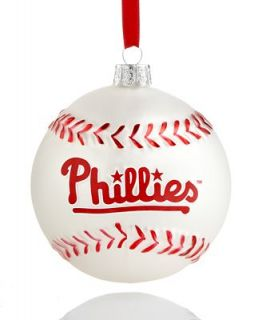 Kurt Adler Christmas Sports Ornament, Phillies Glass MLB Baseball