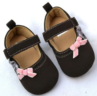 Brown Mary Jane Bows Toddler Baby Girl Shoes Size 2 3
