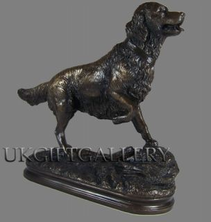 Bronze Golden Retriever Dog Sculpture Ornament Statue