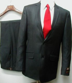 Mens Gray Slim Fit Sharkskin Dress Suit 36 s Short New