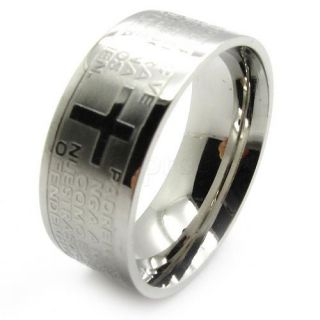 Mens Gold Silver Holy Bible Jesus Cross Finger Ring Stainless Steel