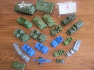 Vintage Army Trucks Tanks Jeeps Tents Fuel Truck Plastic Huge Lot of