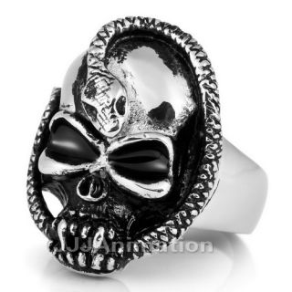 Unique Mens Skull Snake Stainless Steel 316L Ring VE092