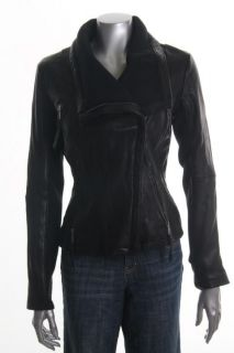 Michael Kors New Black Leather Zip Front Fitted Motorcycle Jacket M