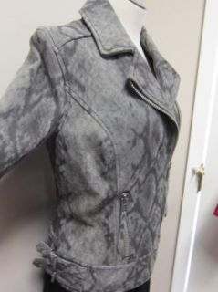 Michael Michael Kors Python Print Suede Leather Motorcycle Jacket $450